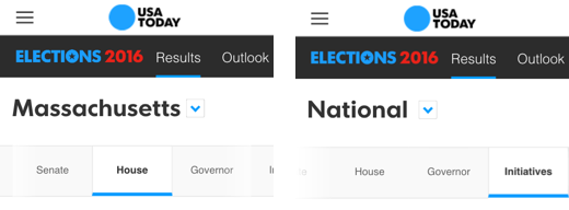 Elections 2016 Exposed Navigation on Mobile